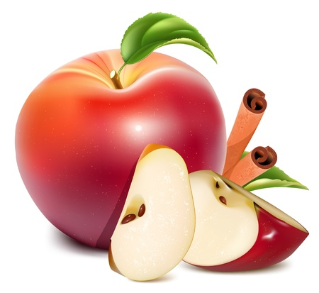 apple slice: Red apples with green leaves and cinnamon  Illustration