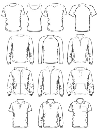 activewear: Collection of men clothes outline templates Illustration