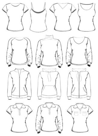 activewear: Collection of women clothes outline templates