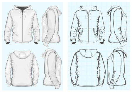 activewear: Men s hooded sweatshirt with zipper Illustration