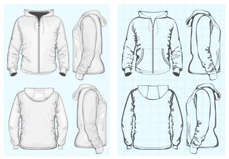 activewear: Men s hooded sweatshirt with zipper Illustration