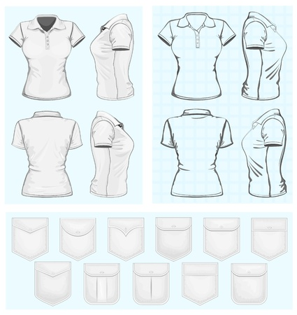 short sleeve: Women s polo-shirt design templates  Illustration