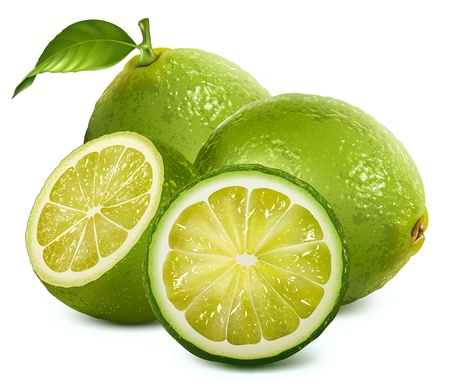 lime fruit: Fresh limes with leaves
