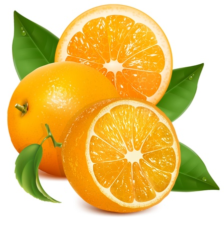 naranjas: Frescas naranjas maduras con hojas