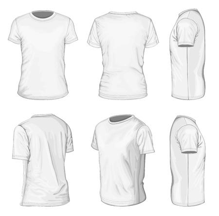Manica corta modelli di design t-shirt bianca Men s Vettoriali