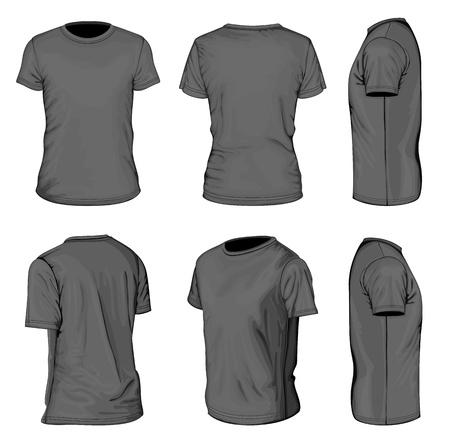 남자의 까만 짧은 소매 t-셔츠 디자인 서식 파일 일러스트