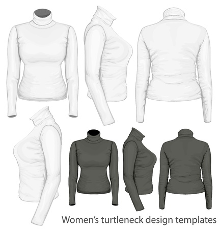 activewear: Women s turtleneck design templates Illustration