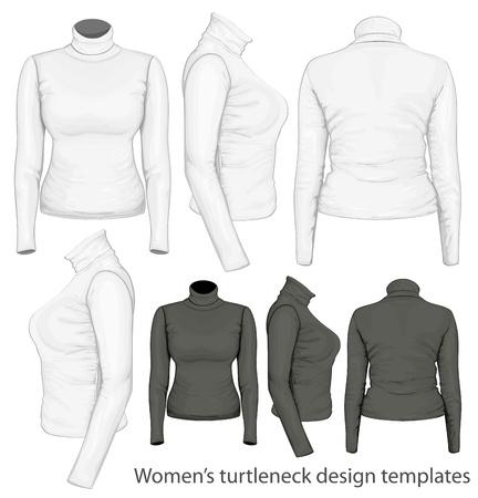 activewear: Women s turtleneck design templates Illustration