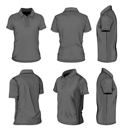Men s zwarte korte mouw polo-overhemd Stock Illustratie
