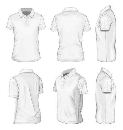 front side: Men s white short sleeve polo-shirt