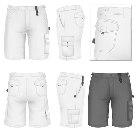 white pants: Mens Bermuda shorts design templates (front, back and side views).