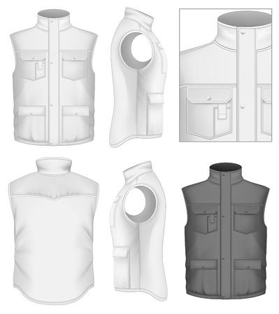 男性の bodywarmer デザイン テンプレート (前面、背面と側面ビュー)