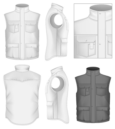 Mens bodywarmer design templates (front, back and side views).  Illustration