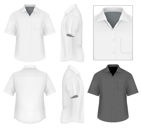 short sleeve: Mens button down shirt design template (front view, back and side views).