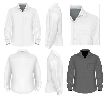 blanco: Botón de los hombres camisa de manga larga plantilla de diseño