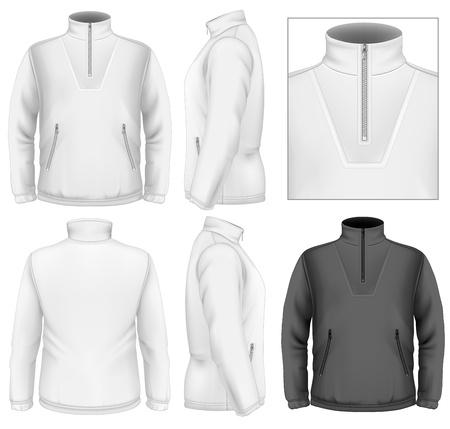 Heren fleece sweater design template (vooraanzicht, achter-en zijkant bekeken). Illustratie bevat Verloopnet.