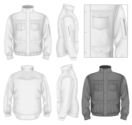 nylon: Mens flight jacket design template (front view, back and side views). Illustration contains gradient mesh.