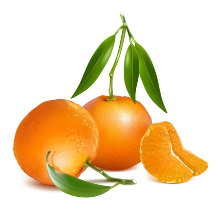 rinds: Fresh tangerine fruits with green leaves and slices.