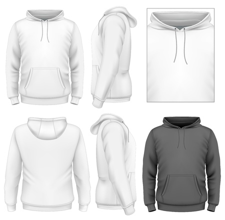 Men's hoodie design template (front view, back and side views).