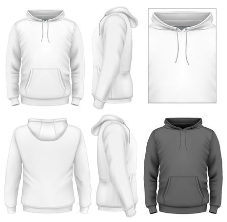 sudadera: Plantilla de diseño Hombres sudadera con capucha (vista de frente, de espalda y de lado). Vectores