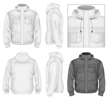 jacket: Mens flight jacket with hood design template (front view, back and side views).