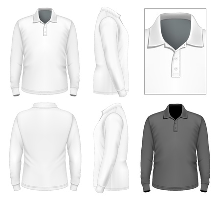 long sleeve: Mens long sleeve polo-shirt design template (front view, back view, side views). Illustration contains gradient mesh.