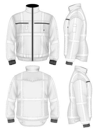 남성의 반사 안전 재킷 (전면, 후면, 측면보기). 그림 그라디언트 메쉬를 포함합니다.