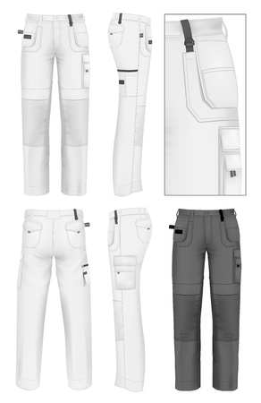 Męska robocze spodnie szablon projektu (przód, tył i widoki z boku). Ilustracje wektorowe