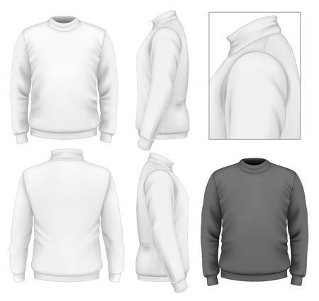 사실적인 벡터 일러스트 레이 션. 남성 스웨터 디자인 서식 파일 (전면보기, 다시보기, 측면보기). 그림 그라디언트 메쉬를 포함합니다. 일러스트
