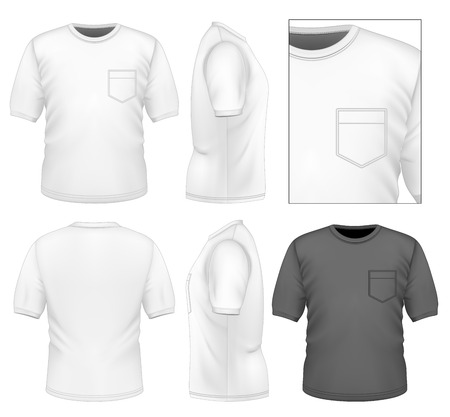 Photo-realistic vector illustration. Men's t-shirt design template (front view, back view, side views). Illustration contains gradient mesh. Stock Illustratie