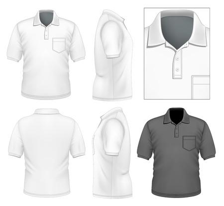 사실적인 벡터 일러스트 레이 션. 남자 폴로 셔츠 디자인 템플릿입니다. 그림 그라디언트 메쉬를 포함합니다.