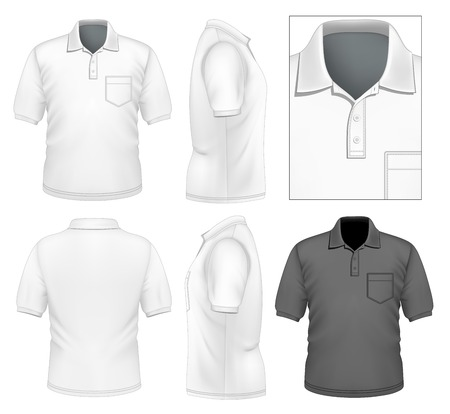 photorealistic: Photo-realistic vector illustration. Mens polo-shirt design template. Illustration contains gradient mesh. Illustration