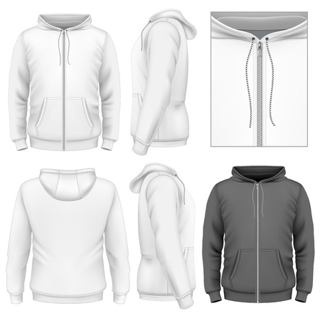 Photo-realistic vector illustration. Men's zip hoodie design template (front view, back and side views). Vector