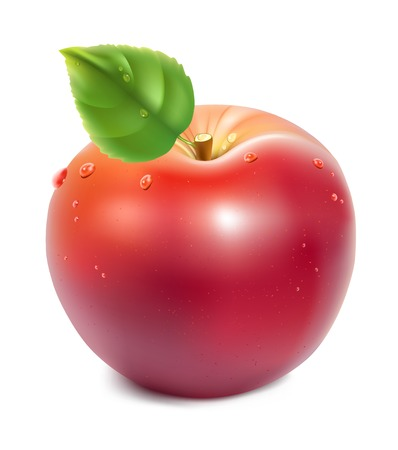 realistic illustration of red apple with green leaf and water drops Vector
