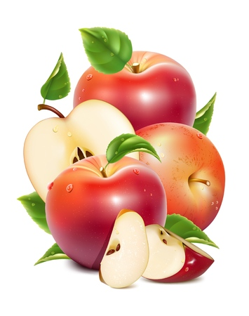 apple slice: Red ripe apples and apples slices with green leaves and water drops illustration Illustration