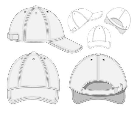 baseball cap: illustration of baseball cap (front, back and side view)