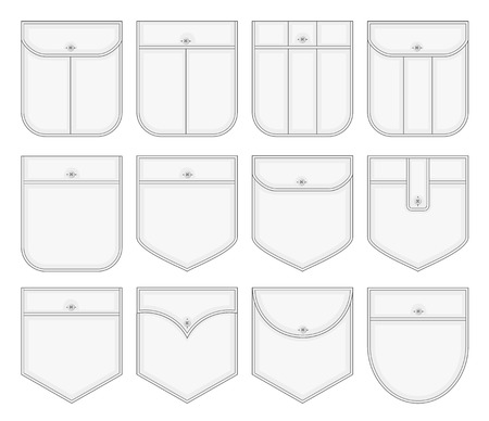 collection of shirt pockets Vectores