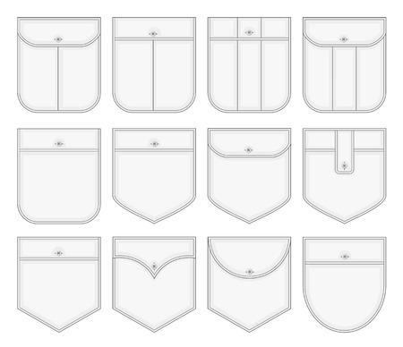 collection of shirt pockets Illustration