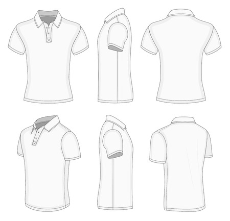 men's white short sleeve polo shirt design templates (front, back, half-turned and side views) Vectores