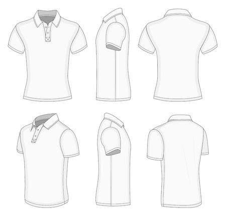 modelos de design de camisa polo de manga curta branca para homem (vistas frontal, traseira, meia virada e lateral)