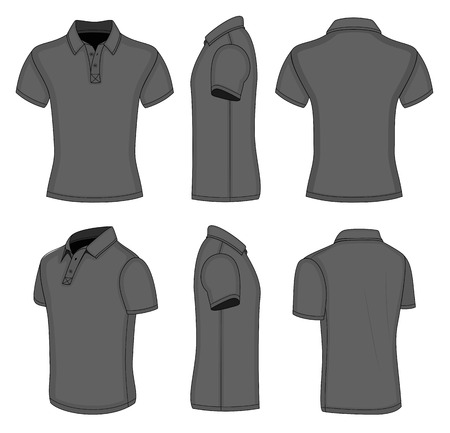 man back view: mens black short sleeve polo shirt design templates