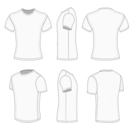 turned: mens white short sleeve t-shirt design templates (front, back, half-turned and side views)