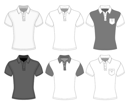 short sleeve: Mens short sleeve polo shirt design templates (front view)