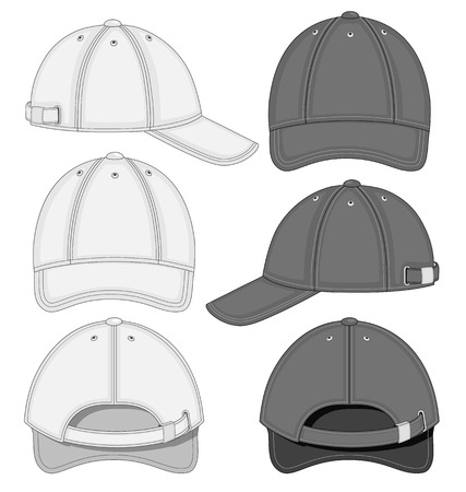 baseball cap: illustration of baseball cap (front, back and side view)