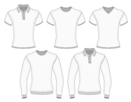 Men's short and long sleeve polo shirt and t-shirt design templates (front view). Vector illustration. No mesh. Redact color very easy. Ribbed collar, cuffs and waistband. Stock Vector - 26078762