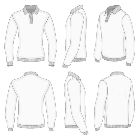 cuffs: All views mens white long sleeve polo shirt design templates (front, back, half-turned and side views). Ribbed collar, cuffs and waistband.