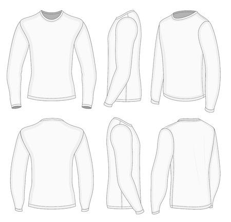 여섯 전망 남자의 백색 긴 소매 t-셔츠 디자인 템플릿 (앞, 뒤, 턴 - 반 측면도). 벡터 illustratio