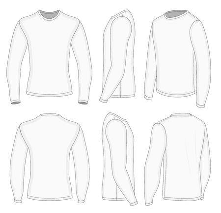 All six views men's white long sleeve t-shirt design templates (front, back, half-turned and side views). Vector illustratio