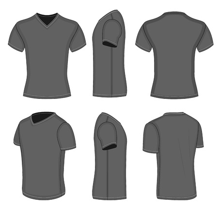 All views men's black short sleeve t-shirt v-neck design templates (front, back, half-turned and side views). Vector illustration. No mesh.