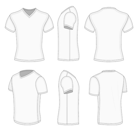 man rear view: All views mens white short sleeve t-shirt v-neck design templates. Vector illustration. No mesh. Redact color very easy!